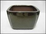 Bonsai Pot, Square, 12cm, Green (Dark), Glazed